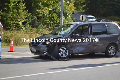 One of two cars involved in an accident on Rt. 1 in Edgecomb on Sept. 11. (D. Lobkowicz photo)