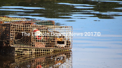 Waldoboro public landing boat launch and its lobster traps. (S. Auciello photo)