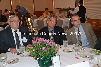 Lincoln County officials attend the Convention of Maine Counties dinner (from left) Robert Mooney, Lincoln County Commissioner Sheridan Bond, and Lincoln County EMA Director Tod Hartung. (Kim Fletcher photo)