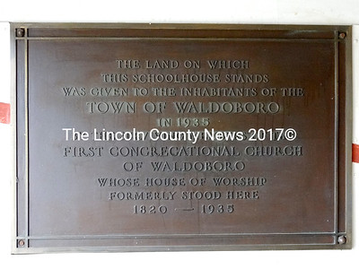 This plaque, commemorating the original gift of land for the former A.D. Gray School, will find a prominent home in the remodeled Waldoboro YMCA. (Shlomit Auciello photo)