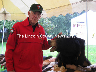 Maine Wildlife expert Mike Witte shared his knowledge of area wildlife during the Bristol Mills Fall Festival. (E. Busby photo)
