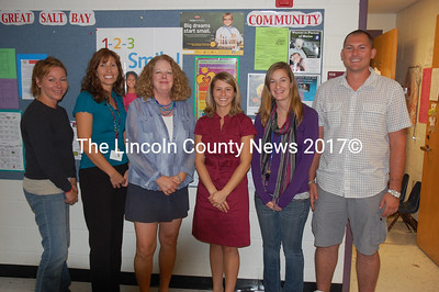 New additions to the Great Salt Bay Community School faculty are from left:  Betsy Lincoln, Sharri Simmons, Sara Cleaves, Jessica Hutchins, Colleen Nichols and Josh Knowlton. (J.W. Oliver photo)