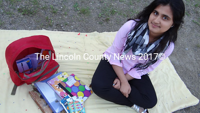 Lincoln Academy exchange student Sammia Nasrin hopes to collect 10 bags full of school supplies, like this one, to take back to Pakistan and distribute to girls whose familes cannot afford supplies. (Shlomit Auciello photo)