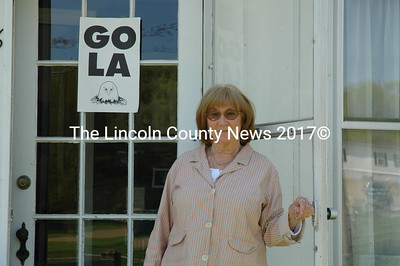 Lincoln Academy Development Office Director Kathe Cheska stands at the entrance to the new location of the office at 48 Academy Hill Rd. in Newcastle. The development office has raised almost $10 million since its founding in 1996, all with Cheska at the helm. (J.W. Oliver photo)