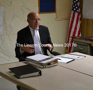 Attorney William Dale speaks at the Edgecomb Board of Selectmen's meeting on May 29. (D. Lobkowicz photo)