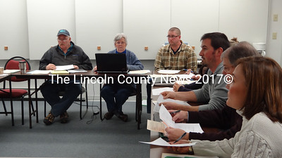 Members of the Nobleboro Budget Committee met with the Noblelboro School Board and AOS 93 officials Jan. 21. (Shlomit Auciello photo)