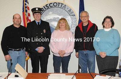 The Damariscotta Board of Selectmen congratulates Damariscotta Fire Chief John Roberts on his new position. From left to right, Vice Chairman Josh Pinkham, Fire Chief John Roberts and selectmen Vicki Pinkham, Ronn Orenstein and Robin Mayer (Paula Roberts photo)