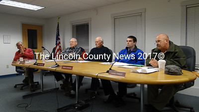 Waldoboro Selectmen listen as citizens offer their positions on the style of town meeting the town should use. Shown from left are Selectmen Steve Cartwright, Carl Cunningham, Ted Wooster, James Bodman and Chairman Craig Cooley. (Shlomit Auciello photo)