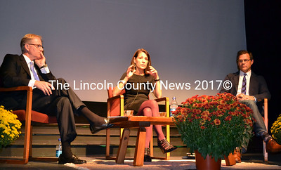 Christopher Brownawell, Suzette McAvoy and Mark Bessire discuss visual arts at a  community forum at the Lincoln Theater Oct. 8. (Kathy Onorato photo)