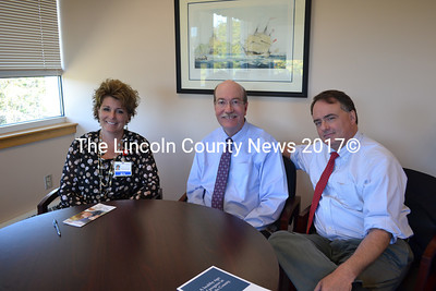 Lincoln County Health officials meet to discuss the changes in St. Andrews services to the community and future plans for the facility. They are (from left) Senior Vice President of Hospital Operations for Lincoln County Healthcare Cindy Wade RN; President and CEO of Lincoln County Healthcare James Donovan; and Scott Shott, vice president of marketing development and community relations for Lincoln County Healthcare. (Charlotte Boynton photo)