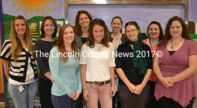 New staff this school year at Miller School in Waldoboro are, back, from left: Jessica Crosby, life skills Ed Tech; Lorie Kulbe, reading recovery teacher; Melissa Boggs, sixth grade teacher; Molly McKenzie, kindergarten teacher; and Megan Devine, fourth grade teacher. Front, from left: Ashanti Barter, life skills Ed Tech; Kara Wordell, life skills Ed Tech; Anna-Marlies Myers, chorus and music teacher; and Naomi Crocitto, life skills Ed Tech. Not pictured: Claudette Wiley, second grade teacher. (D. Lobkowicz photo)