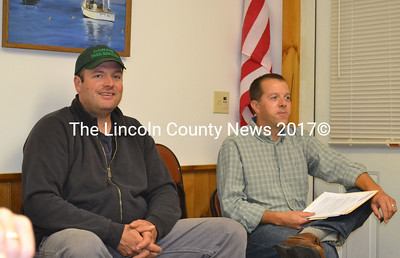 Arborist Jarrod Hawkes, left and biologist Timothy Forrester meet with Westport Island Board of Selectmen Oct. 6 to discuss correcting shoreland Zoning iolations on Oak Point Road. (Charlotte Boynton photo)