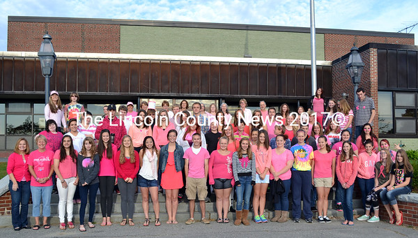 Wiscasset High School students and staff show support for breast cancer awareness Oct. 4 by wearing pink and making donations to the American Cancer Society . (Kathy Onorato)