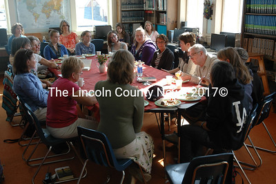 Lincoln Academy Books and Brunch participants eat a Somali meal and hear from young-adult author Maria Padian Oct. 2. (J.W. Oliver photo)