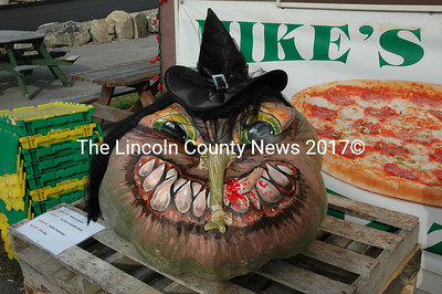 Newcastle artist Glenn Chadbourne painted this cannibal-witch pumpkin. Paris Pierpont, 9, of Jefferson, grew the 274-pound pumpkin and Mike's Place sponsored it.