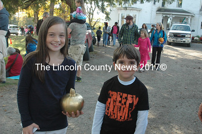"These lucky winners found the ""Golden Pumpkin"" and won a gift certificate to Renys. Every child that participated in the hunt kept their pumpkin and got an additional prize. (Eleanor Cade Busby photo)"
