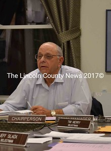 Wiscasset Selectman Ed Polewarczyk tells his fellow selectmen he will not perform the work of assessor, because, in his opinion, the selectmen have not been authorized by the town to perform those duties. The selectmen will seek legal guidance on the issue. (Charlotte Boynton photo)