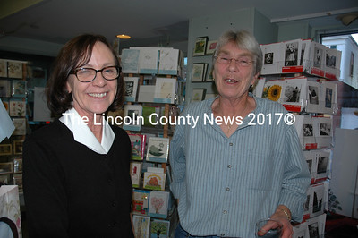 "Susan ""Sue FedEx"" Richardson retired from the Maine Coast Book Shop Sept. 27 after 12 years with the Damariscotta company. Here, Richardson (right) and book shop proprietor Susan Porter share a laugh at Richardson's Sept. 27 retirement party. (J.W. Oliver photo)"
