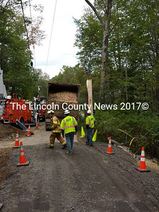 A soft shoulder may have contributed to this semi-truck snapping a utility pole on Sept. 26, according to Deputy Matt Day of the Lincoln County Sheriff's Office. (D. Lobkowicz photo)