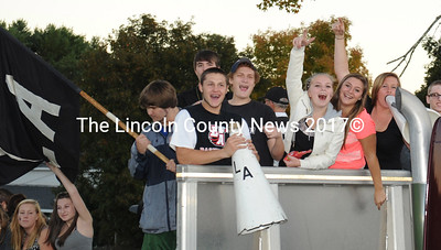 Lincoln Academy students hoot it up in their Homecoming parade. (Paula Roberts photo)