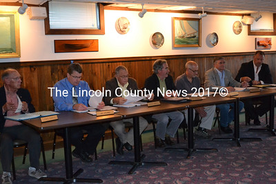 Maine Yankee Community Advisory Panel hold their annual meeting Sept. 26 at the Taste of Maine restaurant. Left to right, Lou Curtis, Jay Hyland, Steve Jarrett, Don Hudson, Ralph Keyes, Senator Chris Johnson, and Maine Yankee Chief Nuclear officer Wayne Norton. (Charlotte Boynton photo)