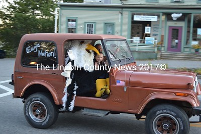 The LA Eagle is chauffered to Homecoming festivities Sept. 27. (Sherwood Olin photo)