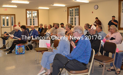 Dresden voters attended a special town meeting Monday evening, agreeing to hire a new snow-plow contractor. (Charlotte Boynton photo)