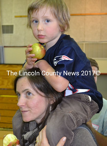 "Jane Frost and her son Willie take part in the ""Big Bite"" in Whitefield Sept. 26. (Kathy Onorato photo)"