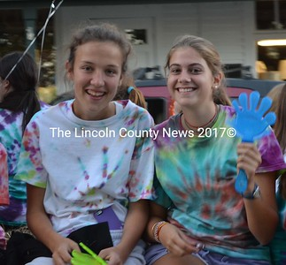 Lauren Hunt and Lucia DeVilla are all smiles during the Lincoln Academy Homecoming Parade, Sept. 27. (Sherwood Olin photo)