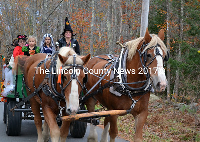 Linda Verney guides her Belgian horses down Dock Road in Alna Oct. 27.  (Kathy Onorato photo)