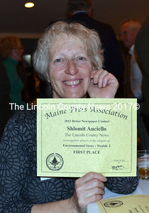 Shlomit Auciello wins a first place award for environmental reporting at the Maine Press Association's annual award banquet held in Bar Harbor on Oct. 26. (Kathy Onorato photo)