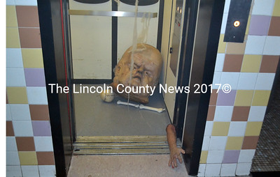Even the elevator at Wiscasset High School showed signs of terror during the school's Halloween event Oct. 18.  (Kathy Onorato photo)