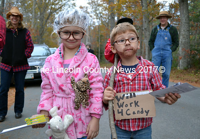 Aurora and Landon Little are voted best in the ages 4-7 division in the fifth annual Alna Halloween celebration. (Kathy Onorato photo)