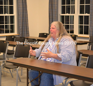 LCTV Station Manager Mary Ellen Crowley talks to Whitefield selectmen on Oct. 29 about accessing LCTV. (Kathy Onorato photo)
