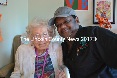 Elijah Curtis with Hodgdon Green resident Gertrude Allen. (D. Lobkowicz photo)