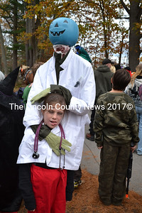 Mae Benner, 8, wins first prize in her age group for her pumpkin head doctor costume. (Kathy Onorato photo)