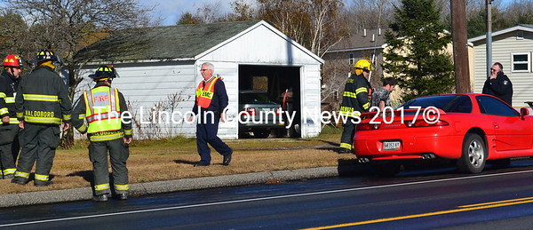 Waldoboro Fire, Police, and EMS personnel at the scene of a rear-end accident on Route 1 Nov. 18. The accident caused minimal damage but one driver was transported for possible injuries.  (D. Lobkowicz photo)
