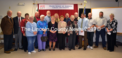 Lincoln County Spirit of America Awards recipients are recognized on Nov. 19 in Wiscasset. (Kathy Onorato photo)