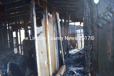 A view inside of the mobile home destroyed in a fire in Waldoboro on Nov. 14. Sgt. Ken Grimes said the fire was intentionally set in the bathroom of the building, which was located at the far end of the hallway pictured. (D. Lobkowicz photo)