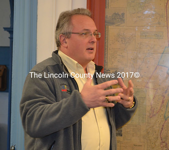 United Way of Mid Coast Maine's Tom Blatz speaks to Lincoln County Commissioners Nov. 19. (Kathy Onorato photo)
