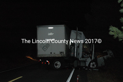 A tractor-trailer accident on Route 129 in South Bristol closed the road for about four hours and spilled 20-plus gallons of diesel fuel Nov. 14. (J.W. Oliver photo)