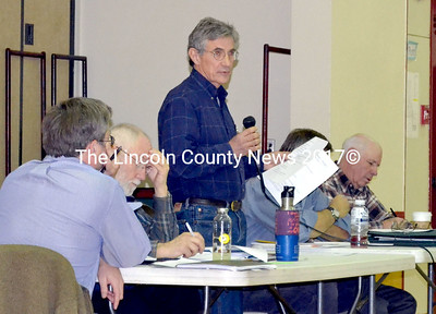 Whitefield Selectman Tony Marple provides voters with some background information on the Clary Lake dam. (Kathy Onorato photo)