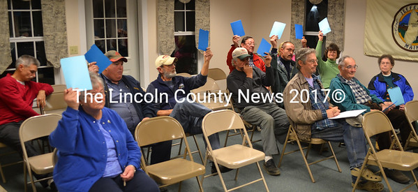 Voters raise their cards in favor of selectman Jim Hilton's negative motion for Jefferson not to take ownership of the Clary Lake dam on Nov. 18. (D. Lobkowicz photo)