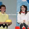 "Charlie Brown (Josh Beckett) and Snoopy (Christina McClure) celebrate ""Suppertime."" (Eleanor Cade Busby photo)"