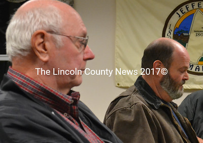 Jefferson School Committee Chair Robert Westrich (left) and Scott Higgins, the head school bus driver for Jefferson Village School, met with the town's board of selectmen on Dec. 2 about replacing three school buses. (D. Lobkowicz photo)