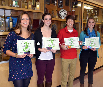 The Western Maine Class C all-star teams included Wiscasset High School student athlete's (from left) Miranda McIntire, Briana Goud, J.D. Souza and Sarah Hanley. (Kathy Onorato photo)