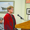 Wiscasset Speedway owner Vanessa Jordan speaks in support of a Special Amusement Permit for the speedway at a public hearing conducted by the selectmen Tuesday evening. (Charlotte Boynton photo)