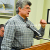 Wiscasset resident Frank Costa tells the town selectmen the Wiscasset Speedway has a negative impact on its neighbors. (Charlotte Boynton photo)