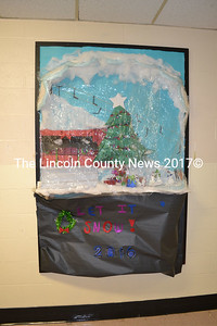 Wiscasset High School's sophomore class creates a snow globe bulletin board and earns second place. (Kathy Onorato)