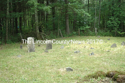 Looking diagonally across the Sidelinger Cemetery, GR-102, the headstones of Frederick and Sarah Sidelinger amidst the many natural fieldstone markers. (Laurie McBurnie photo, 2007)